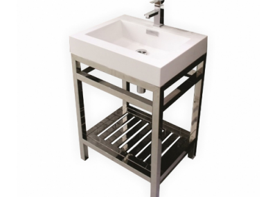 AQUA CISCO 30 STAINLESS STEEL CONSOLE W WHITE ACRYLIC SINK
