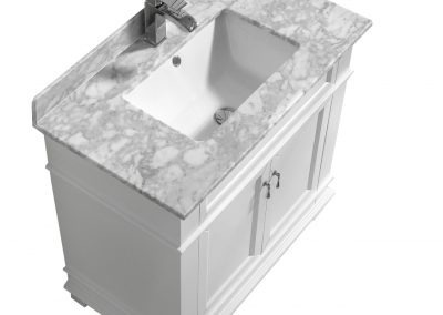 Fayer 30 White Bathroom Vanity With Carrara Marble Top
