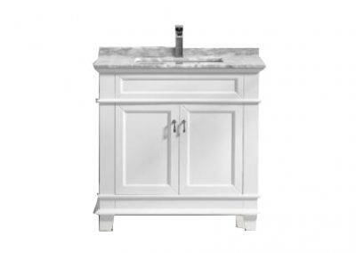 Fayer 36 White Bathroom Vanity With Carrara Marble Top