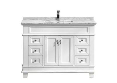 Fayer 48 White Bathroom Vanity With Carrara Marble Top