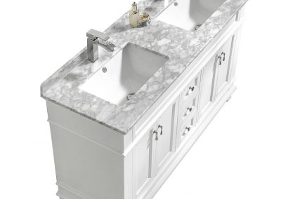 Fayer 60 Double Sink White Bathroom Vanity With Carrara Marble Top