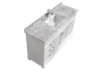 Fayer 60 Single Sink White Bathroom Vanity With Carara Marble Top