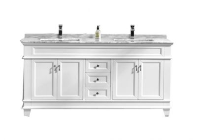Fayer 72 Double Sink White Bathroom Vanity With Carrara Marble Top