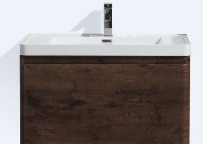 HAPPY 32 ROSE WOOD WALL MOUNTED MODERN BATHROOM VANITY W 2 DRAWERS AND REEINFORCED ACRYLIC SINK