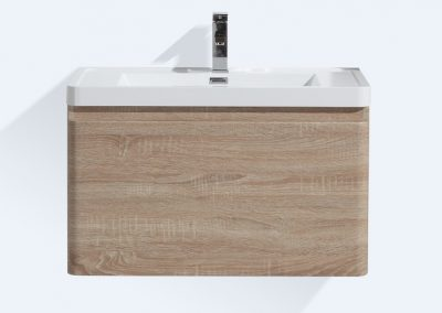 HAPPY 32 WHITE OAK WALL MOUNTED MODERN BATHROOM VANITY W 2 DRAWERS AND REEINFORCED ACRYLIC SINK
