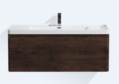 HAPPY 48 ROSE WOOD WALL MOUNTED MODERN BATHROOM VANITY W 2 DRAWERS AND REEINFORCED ACRYLIC SINK