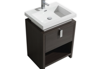 LEVI 24 GRAY OAK MODERN BATHROOM VANITY W CUBBY HOLE