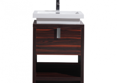 LEVI 24 HIGH GLOSS ROSE WALNUT MODERN BATHROOM VANITY W CUBBY HOLE
