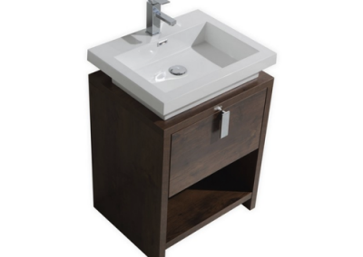 LEVI 24 ROSE WOOD MODERN BATHROOM VANITY W CUBBY HOLE