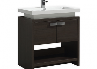 LEVI 32 GRAY OAK MODERN BATHROOM VANITY W CUBBY HOLE