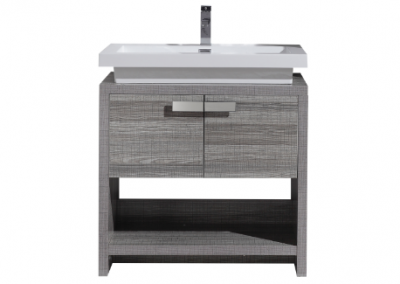 LEVI 32 HIGH GLOSS ASH GREY MODERN BATHROOM VANITY W CUBBY HOLE