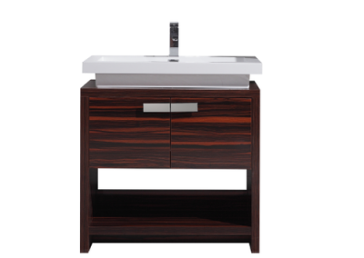 LEVI 32 HIGH GLOSS ROSE WALNUT MODERN BATHROOM VANITY W CUBBY HOLE
