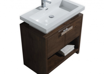 LEVI 32 ROSE WOOD MODERN BATHROOM VANITY W CUBBY HOLE