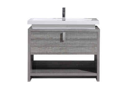 LEVI 40 HIGH GLOSS ASH GREY MODERN BATHROOM VANITY W CUBBY HOLE
