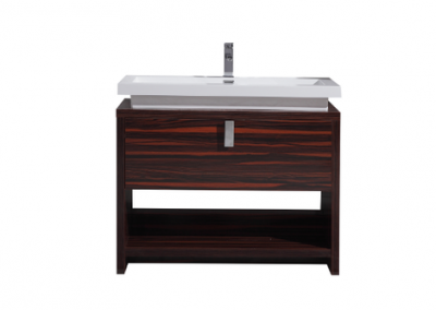 LEVI 40 HIGH GLOSS ROSE WALNUT MODERN BATHROOM VANITY W CUBBY HOLE
