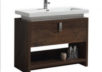 LEVI 40 ROSE WOOD MODERN BATHROOM VANITY W CUBBY HOLE