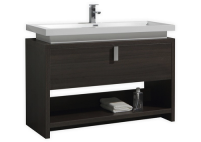 LEVI 48 GRAY OAK MODERN BATHROOM VANITY W CUBBY HOLE