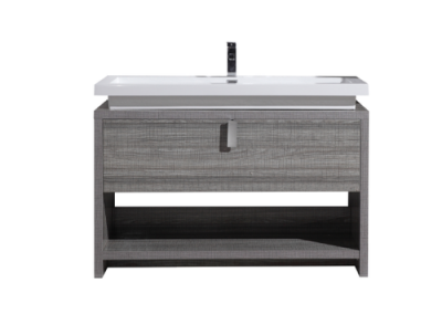 LEVI 48 HIGH GLOSS ASH GREY MODERN BATHROOM VANITY W CUBBY HOLE
