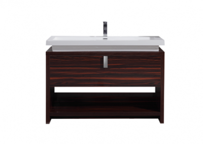 LEVI 48 HIGH GLOSS ROSE WALNUT MODERN BATHROOM VANITY W CUBBY HOLE