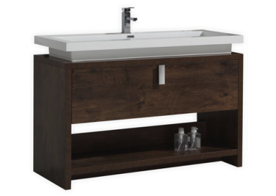 LEVI 48 ROSE WOOD MODERN BATHROOM VANITY W CUBBY HOLE