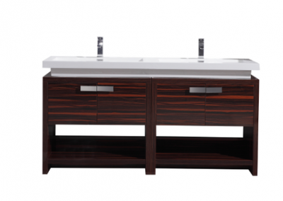 LEVI 63 HIGH GLOSS ROSE WALNUT MODERN BATHROOM VANITY W CUBBY