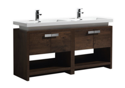 LEVI 63 ROSE WOOD MODERN BATHROOM VANITY W CUBBY HOLE