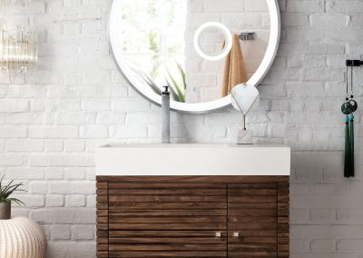 Linear 36 Single Vanity, Mid Century Walnut