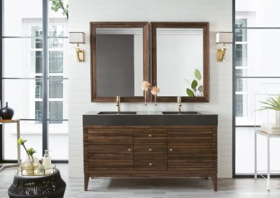 Linear 59 Double Vanity, Mid Century Walnut
