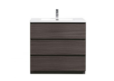 MOA 36″ DARK GREY OAK MODERN BATHROOM VANITY W 3 DRAWERS AND ACRYLIC SINK