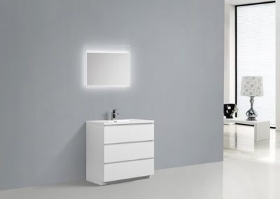 MOA 36″ GLOSS WHITE MODERN BATHROOM VANITY W 3 DRAWERS AND ACRYLIC SINK