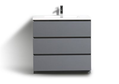 MOA 36″ HIGH GLOSS GRAY MODERN BATHROOM VANITY W 3 DRAWERS AND ACRYLIC SINK