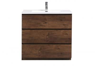 MOA 36″ ROSEWOOD MODERN BATHROOM VANITY W 3 DRAWERS AND ACRYLIC SINK