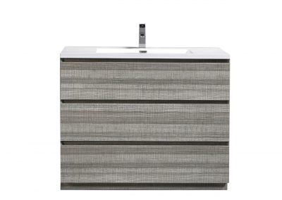 MOA 42″ ASH GRAY MODERN BATHROOM VANITY W 3 DRAWERS AND ACRYLIC SINK