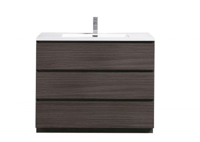 MOA 42″ DARK GREY OAK MODERN BATHROOM VANITY W 3 DRAWERS AND ACRYLIC SINK