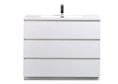 MOA 42″ GLOSS WHITE MODERN BATHROOM VANITY W 3 DRAWERS AND ACRYLIC SINK
