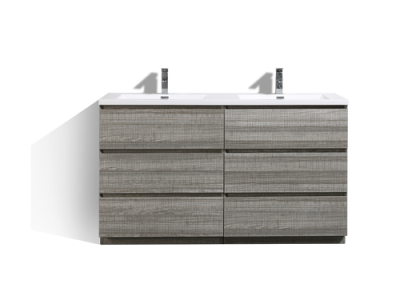 MOA 60″ DOUBLE SINK ASH GREY MODERN BATHROOM VANITY W 6 DRAWERS AND ACRYLIC SINK