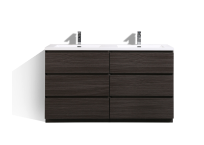 MOA 60″ DOUBLE SINK DARK GREY OAK MODERN BATHROOM VANITY W 6 DRAWERS AND ACRYLIC SINK