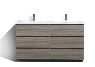 MOA 60″ DOUBLE SINK MAYPLE GREY BATHROOM VANITY W 6 DRAWERS AND ACRYLIC SINK