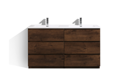 MOA 60″ DOUBLE SINK ROSEWOOD MODERN BATHROOM VANITY W 6 DRAWERS AND ACRYLIC SINK