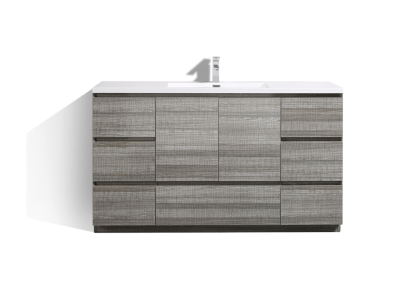 MOA 60″ SINGLE SINK ASH GRAY MODERN BATHROOM VANITY W 7 DRAWERS AND ACRYLIC SINK