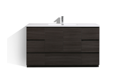 MOA 60″ SINGLE SINK DARK GREY OAK MODERN BATHROOM VANITY W 7 DRAWERS AND ACRYLIC SINK