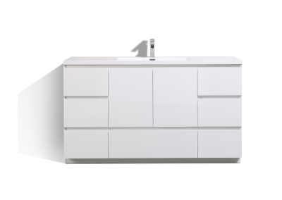 MOA 60″ SINGLE SINK GLOSS WHITE MODERN BATHROOM VANITY W 7 DRAWERS AND ACRYLIC SINK