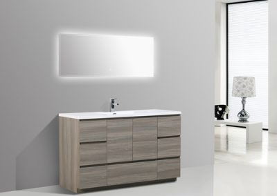 MOA 60″ SINGLE SINK MAYPLE GREY BATHROOM VANITY W 7 DRAWERS AND ACRYLIC SINK