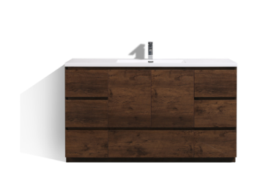 MOA 60″ SINGLE SINK ROSEWOOD MODERN BATHROOM VANITY W 7 DRAWERS AND ACRYLIC SINK