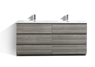 MOA 72″ DOUBLE SINK ASH GRAY MODERN BATHROOM VANITY W 6 DRAWERS AND ACRYLIC SINK
