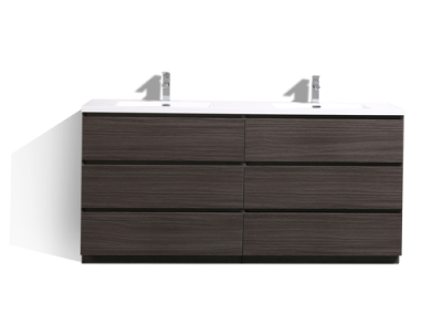 MOA 72″ DOUBLE SINK DARK GREY OAK MODERN BATHROOM VANITY W 6 DRAWERS AND ACRYLIC SINK