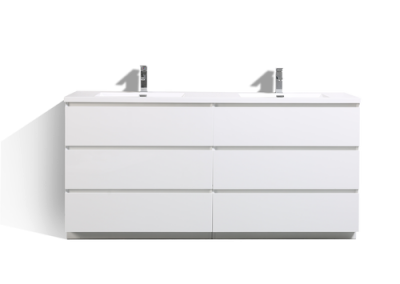 MOA 72″ DOUBLE SINK GLOSS WHITE MODERN BATHROOM VANITY W 6 DRAWERS AND ACRYLIC SINK