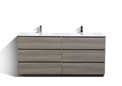 MOA 72″ DOUBLE SINK MAYPLE GREY MODERN BATHROOM VANITY W 6 DRAWERS AND ACRYLIC SINK