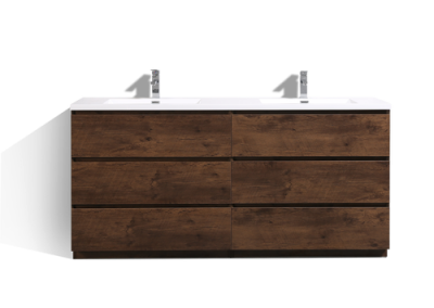 MOA 72″ DOUBLE SINK ROSEWOOD MODERN BATHROOM VANITY W 6 DRAWERS AND ACRYLIC SINK