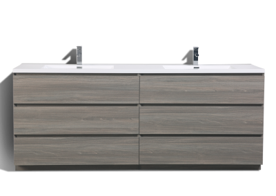 MOA 84″ DOUBLE SINK MAYPLE GREY MODERN BATHROOM VANITY W 6 DRAWERS AND ACRYLIC SINK
